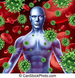 Human disease and infection representing a medical health...