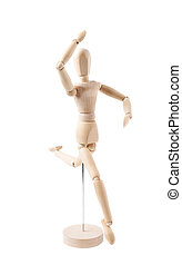 Human doll puppet statuette isolated