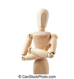 Human doll puppet statuette isolated - Made of wood human...