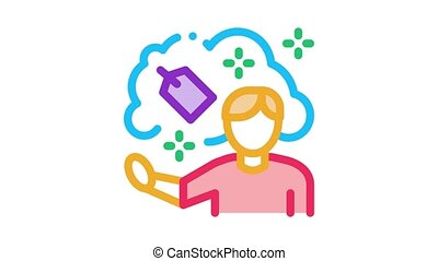 human dream label price Icon Animation. color human dream label price animated icon on white background