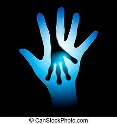 human, e, estrangeiro, mãos, silueta