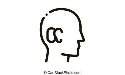 Human Ear Icon Animation. black Human Ear animated icon on white background