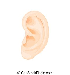 Human ear icon, cartoon style