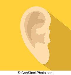 Human ear icon, flat style