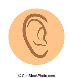 Human ear icon. Vector pictogram illustration isolated on white background.