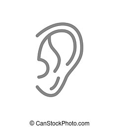 Human ear line icon. Hearing organ symbol and sign illustration design. Isolated on white background