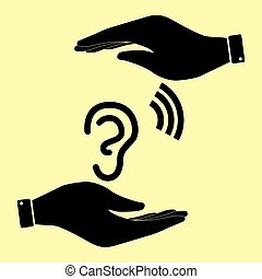 Save or protect symbol by hands. - Human ear sign. Save or...