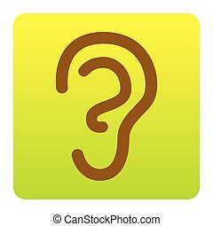 Human ear sign. Vector. Brown icon at green-yellow gradient square with rounded corners on white background. Isolated.
