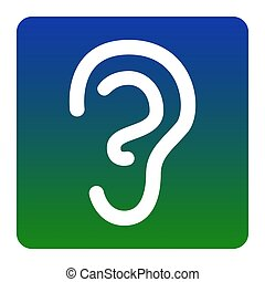 Human ear sign. Vector. White icon at green-blue gradient square with rounded corners on white background. Isolated.