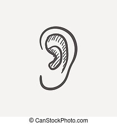 Human ear sketch icon for web and mobile. Hand drawn vector...