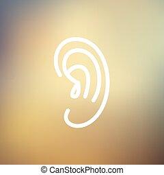 Human ear thin line icon - Human ear icon thin line for web...