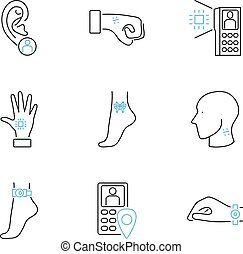 Human electronic tagging outline icon collection set vector illustration.