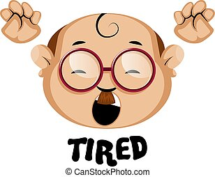 Human emoji with tired expression, illustration, vector on white background.