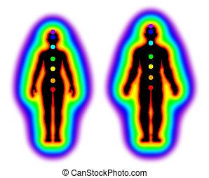 Human energy body - aura and chakras on white background - illustration