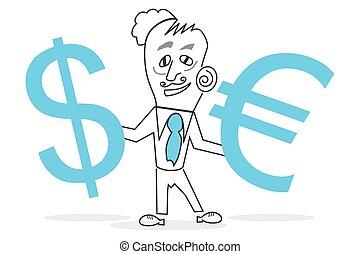 Human & euro and dollar