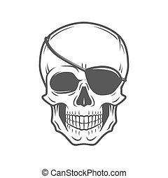 Human evil skull vector. Jolly Roger with eyepatch logo...
