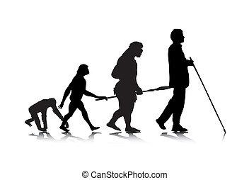 Human Evolution 3 - An abstract, metaphoric vector...