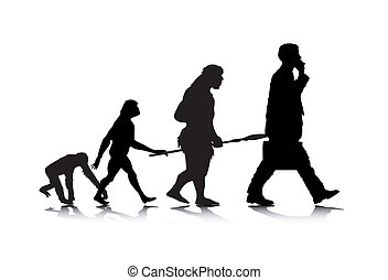 Human Evolution - An abstract vector illustration of human...