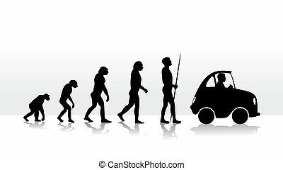 evolution - human evolution ending with driving a car