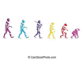 human evolution vector - body human vector man past going