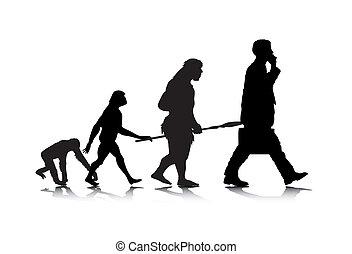 Human Evolution - An abstract vector illustration of human...