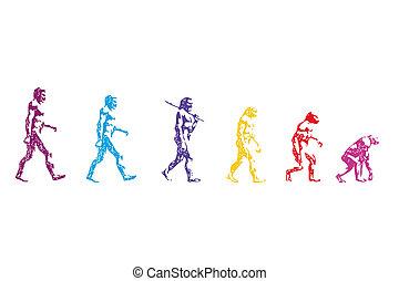 human evolution vector - body human vector man past going