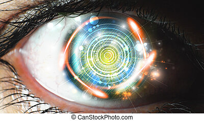 Human eye. abstract digital circuit background. AI(Artificial Intelligence) concept.
