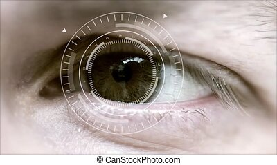 Human eye and abstract hi-tech circle - Macro eye and VR...