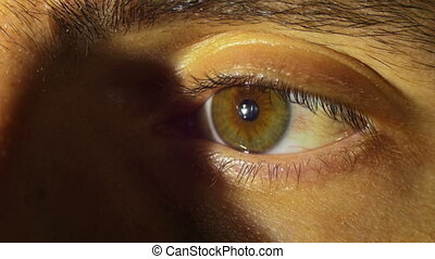 Human Eye Blinks. Close-up of man eye that blink, crazy...