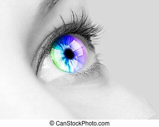 Human eye close-up - Colour image of a human eye close-up