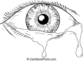 Human Eye Crying Tears Flowing Drawing