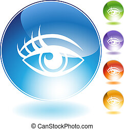 Human eye Crystal Icon Set