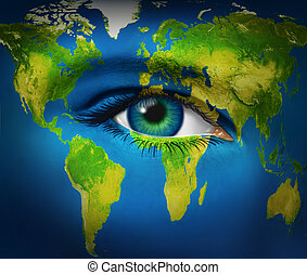 Human eye earth planet as world vision for the future and global insight into international business and politics through communications and internet network connections as united nations of people from all countries as one humanity.