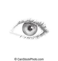 Human eye engraved