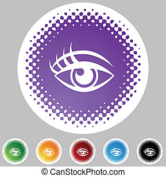 Human eye Halftone Icon Set
