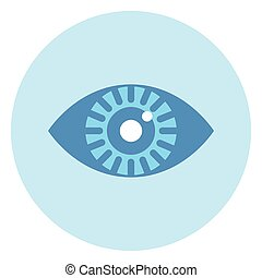 Human Eye Icon On Blue Round Background
