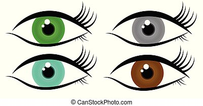 Human Eye Icon with Colorful Iris Set