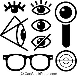 Human eye icons black