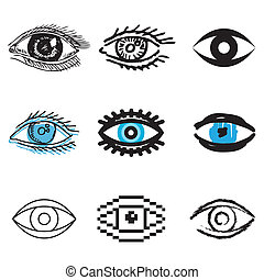 human eye icons set