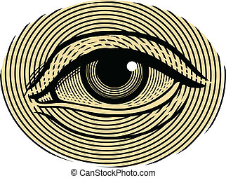 Human eye in engraving style - Isolated, grouped,...