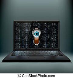 Human eye in the keyhole and a laptop. Cybercrime. Stock vector