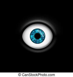 human eye isolated on black background