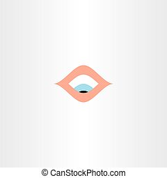 human eye looking down vector icon