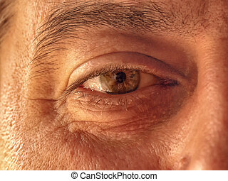 Human eye of mature man close up. Part of the face the senior man with brown eye close-up.