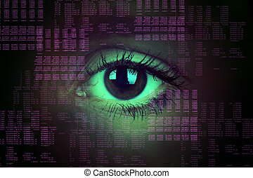 Human eye on abstract background