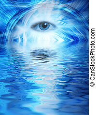 Human eye on blue abstract background reflected in rendered water