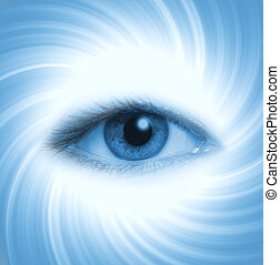 Human eye on blue abstract background