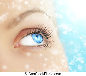 Human eye on blue background