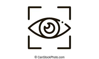 Human Eye Scanning Icon Animation. black Human Eye Scanning animated icon on white background