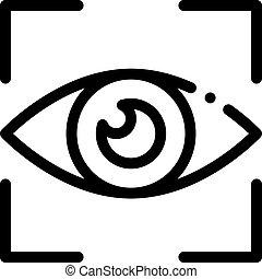 Human Eye Scanning Icon Vector Outline Illustration